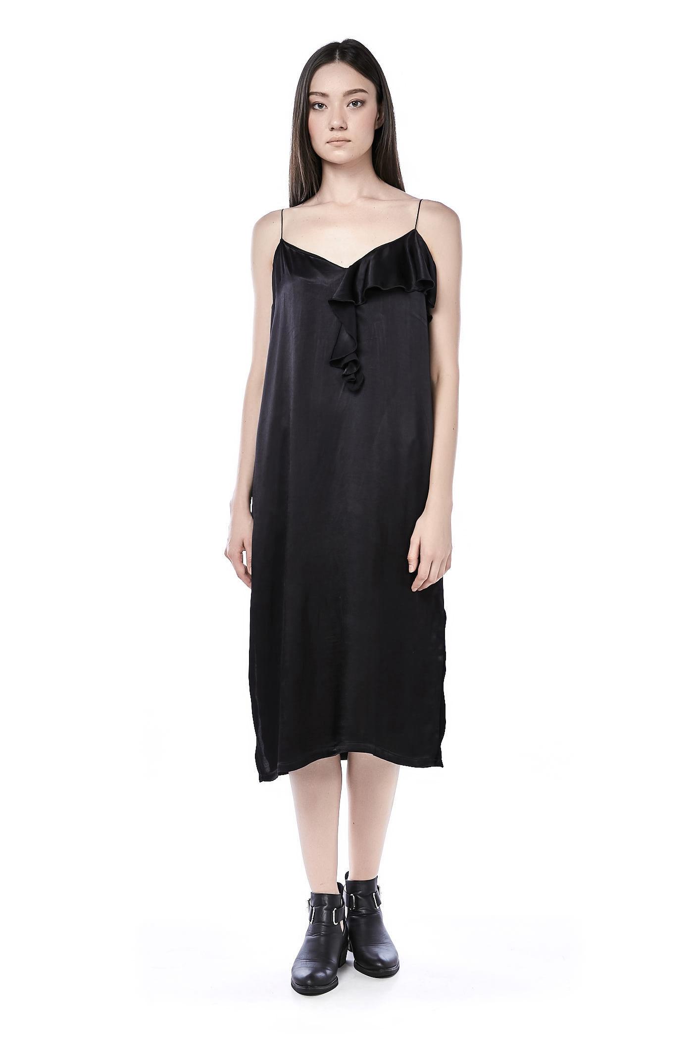 Briza Frill-trim Sateen Dress
