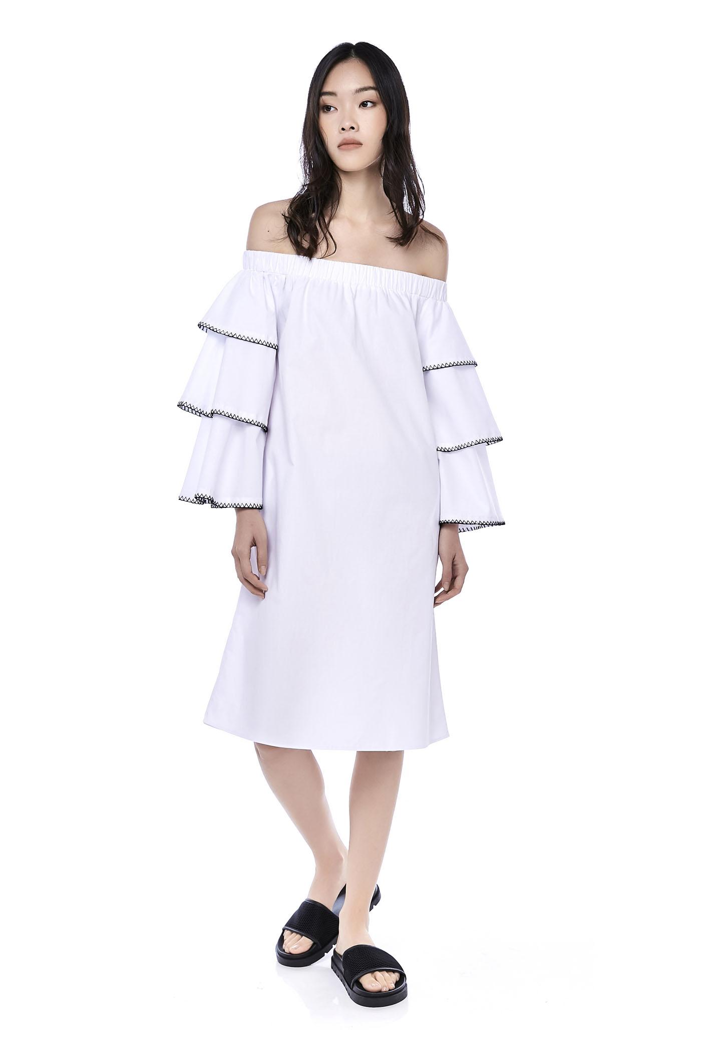 Muccia Tiered-Sleeve Midi Dress