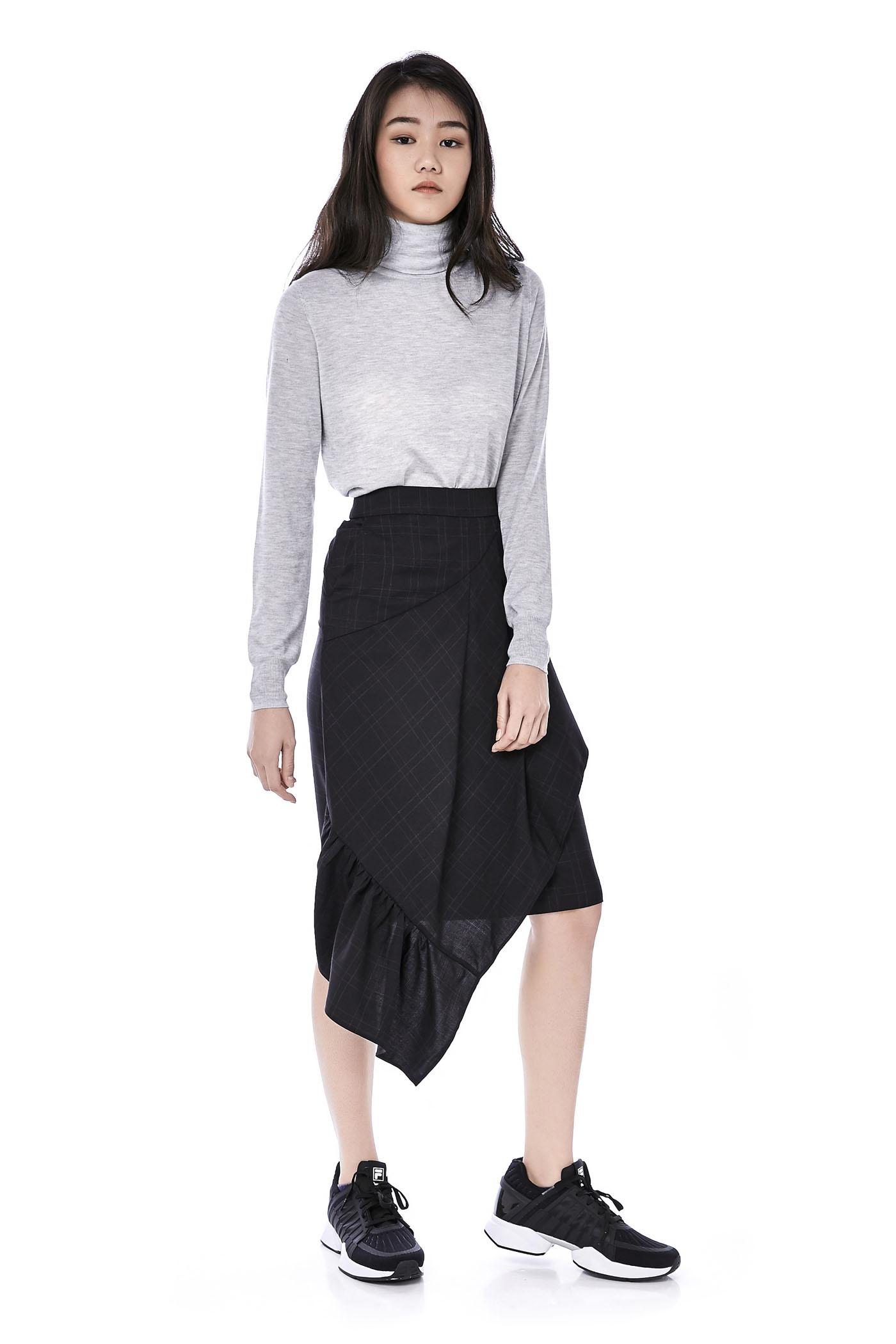 Sevelin Asymmetrical Midi Skirt