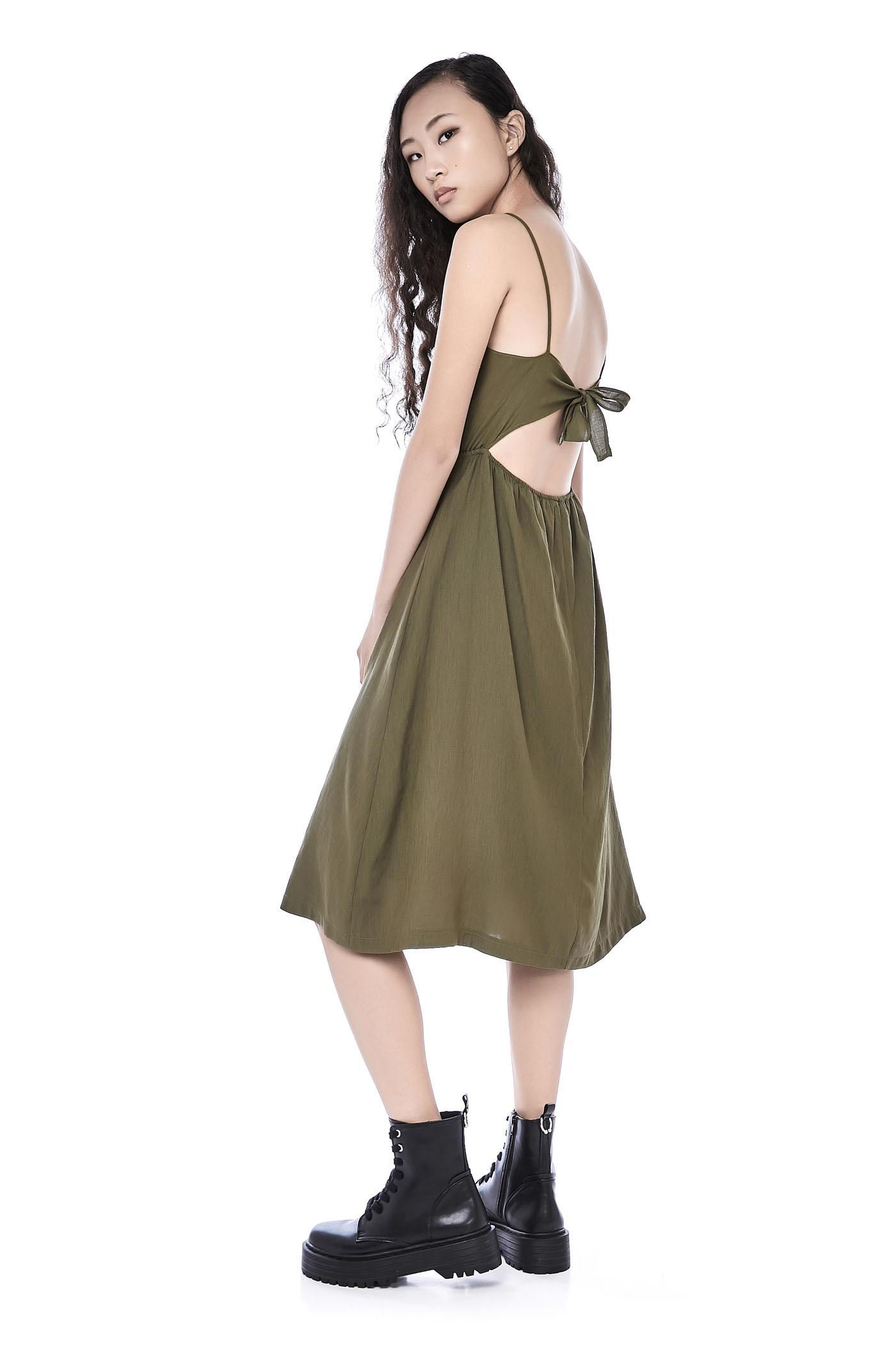 e3ed739908af Shanellia Back-Tie Midi Dress   The Editor's Market