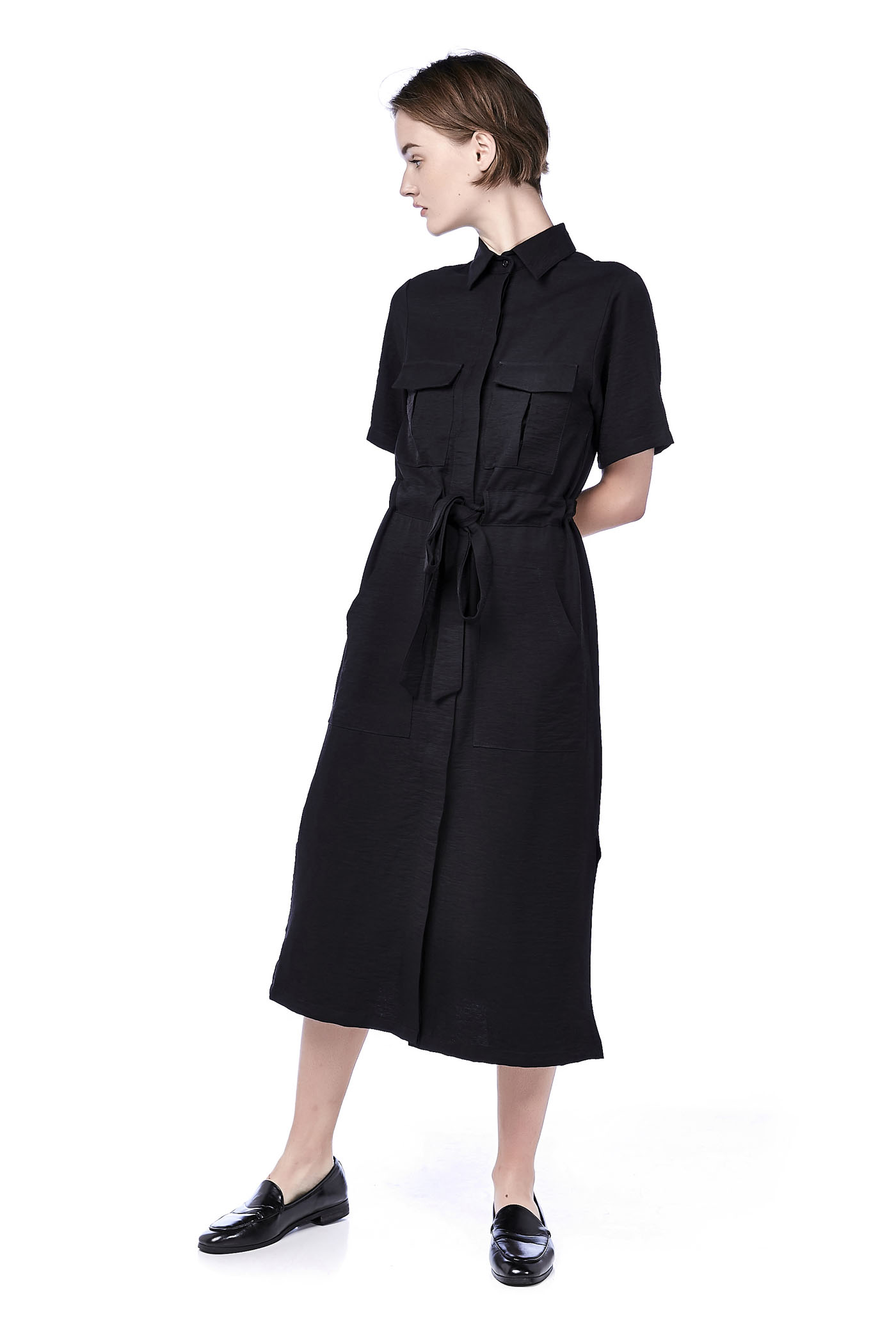 Dresses The Editors Market Kemeja Row Hitam Shop At Velvet Damian Drawstring Shirtdress