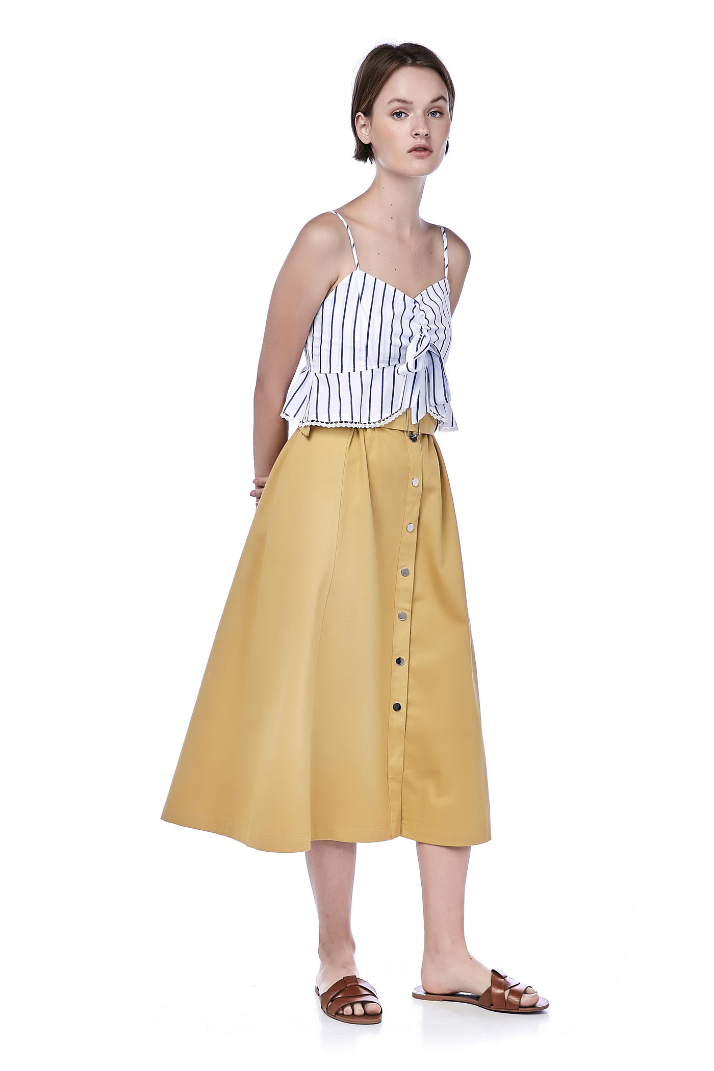 2e31b5f4a207 Ronni Button-Down Midi Skirt