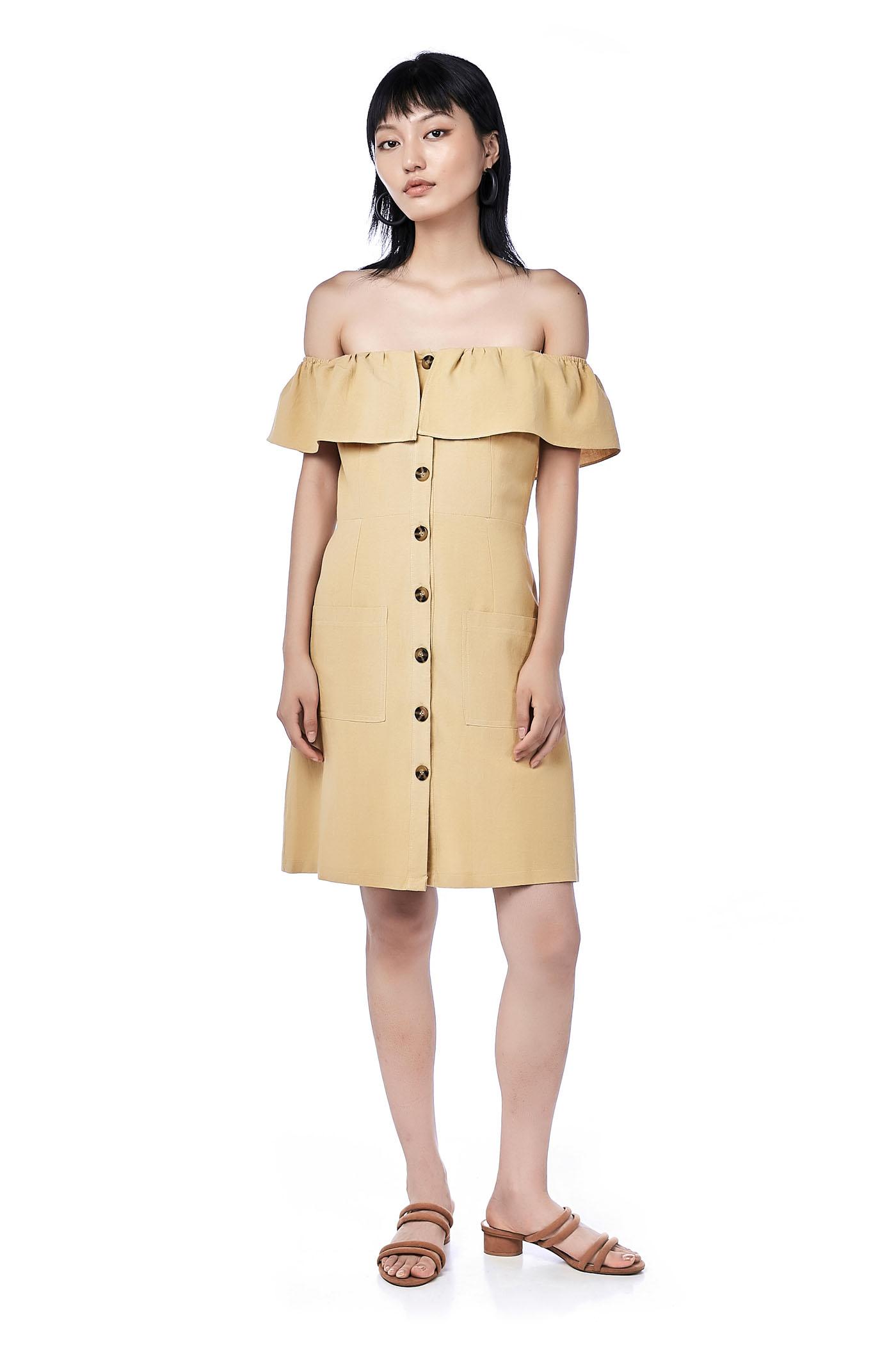 5419569c54bb Lorita Linen Off-Shoulder Dress