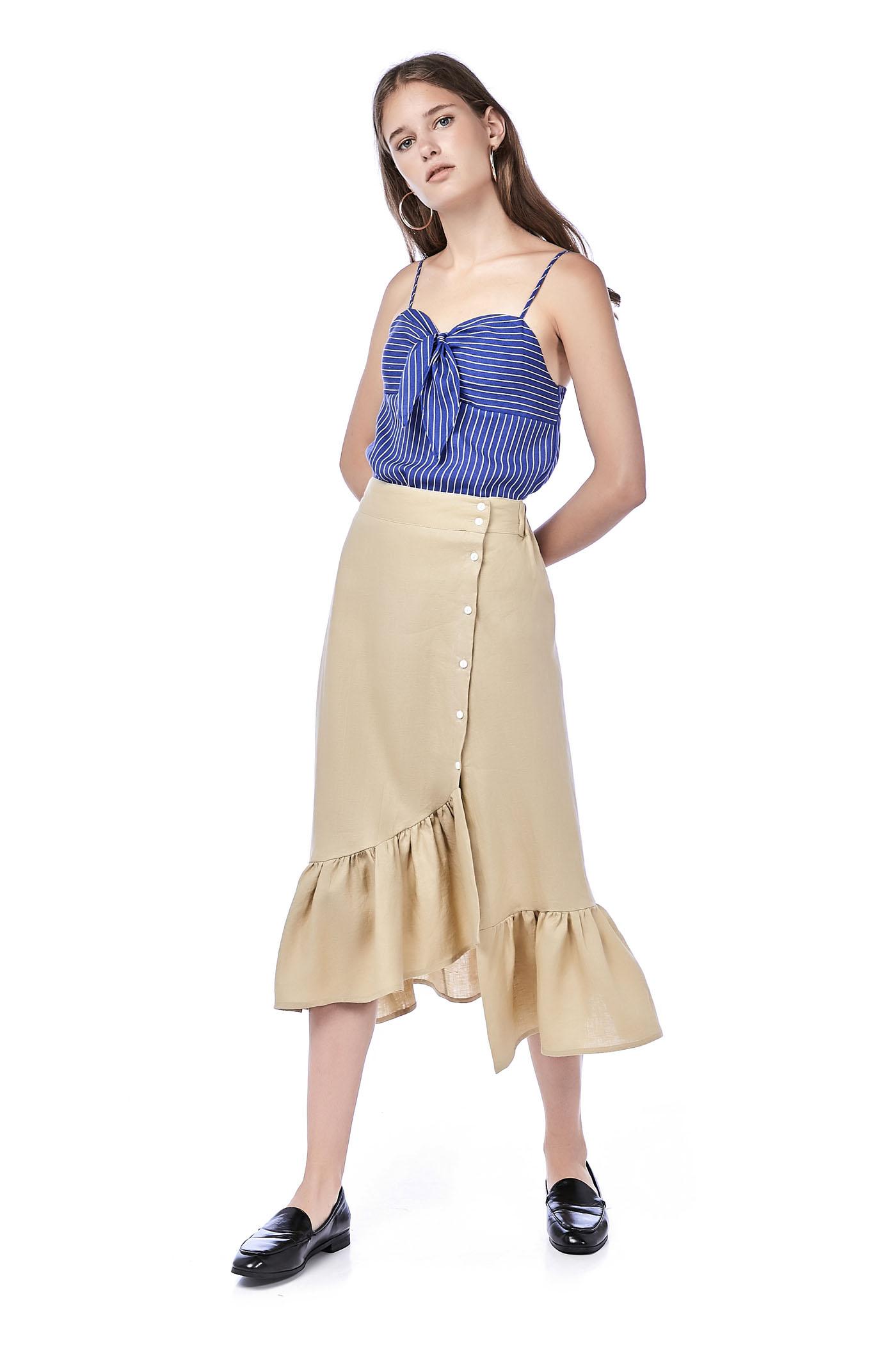 4b85d33dd171 Faustine Ruffle-Hem Wrap Skirt