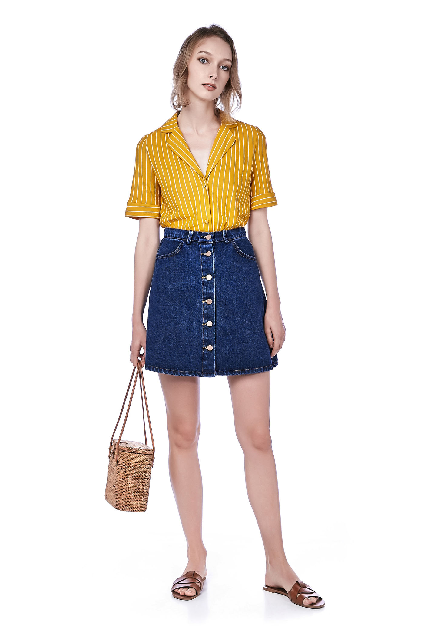 a910a96c890d Tina Button-Down Denim Skirt