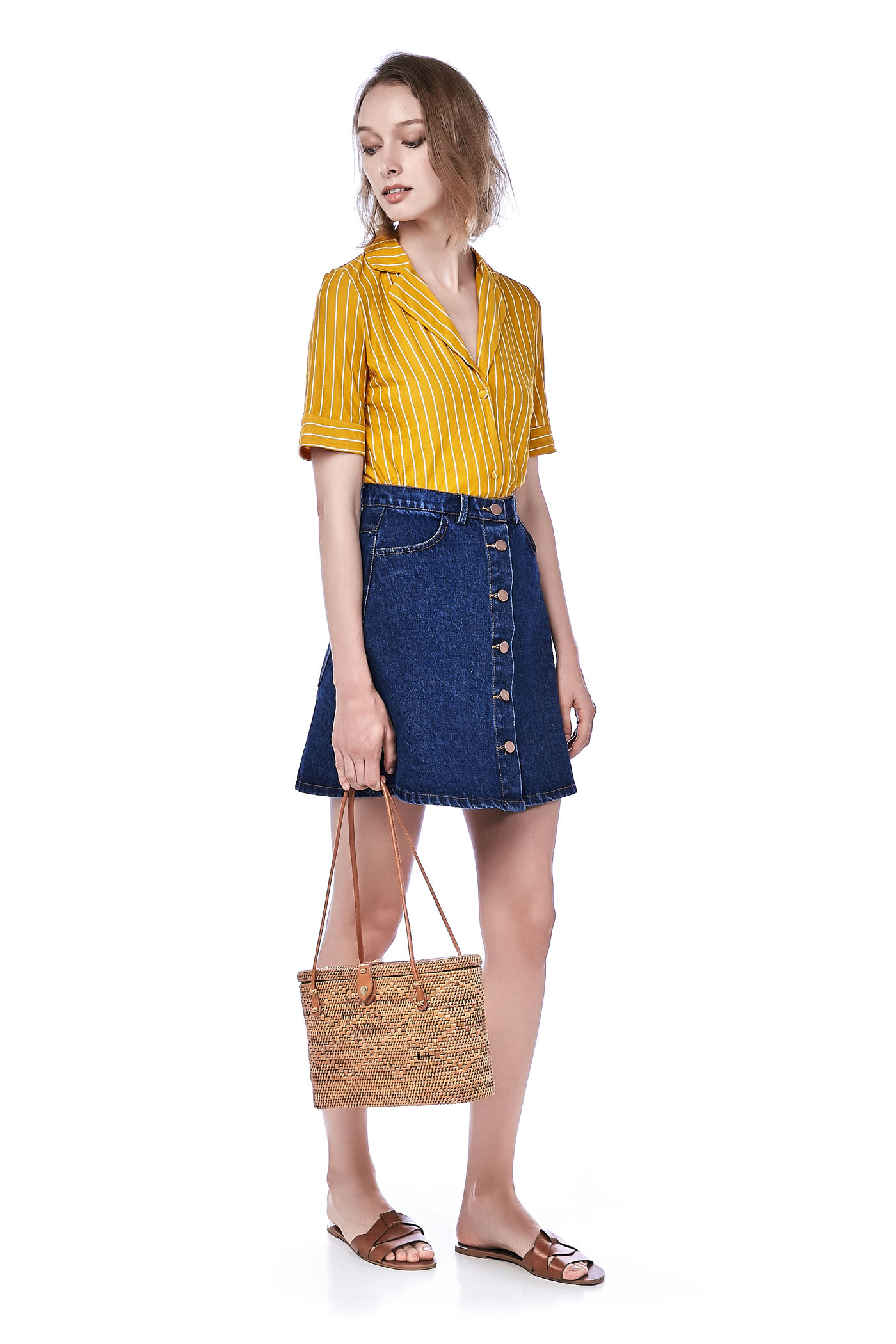 4c413a6a6879 Tina Button-Down Denim Skirt