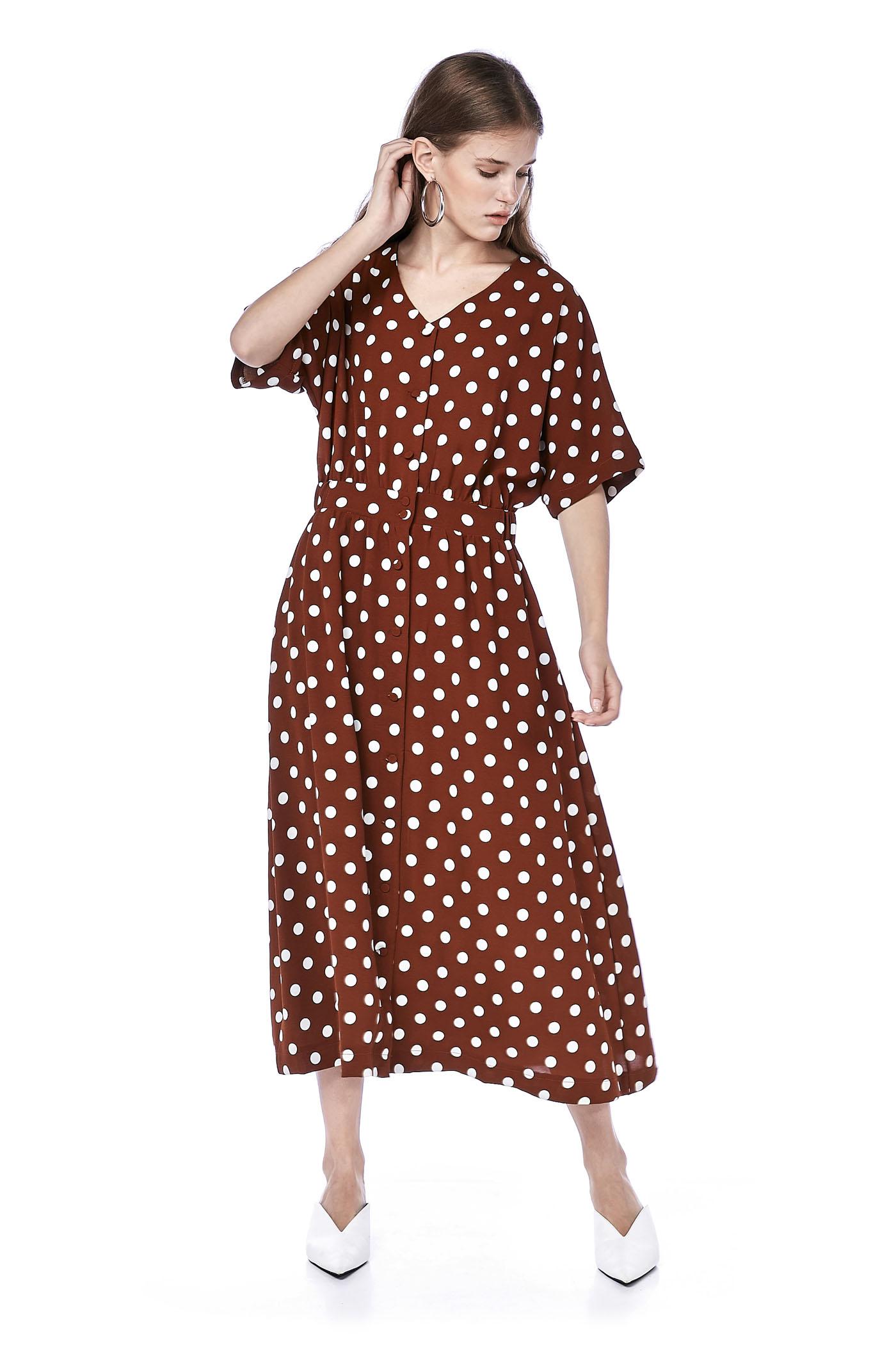 Afina Dotted Maxi Dress
