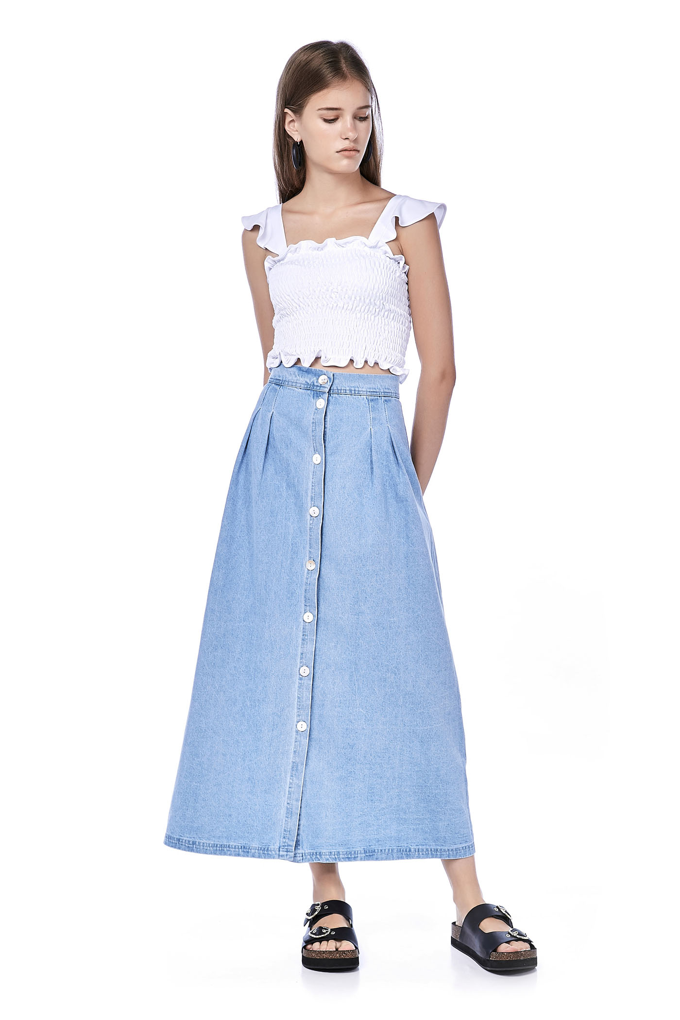 01def89a648a Lyre Button-Through Denim Skirt