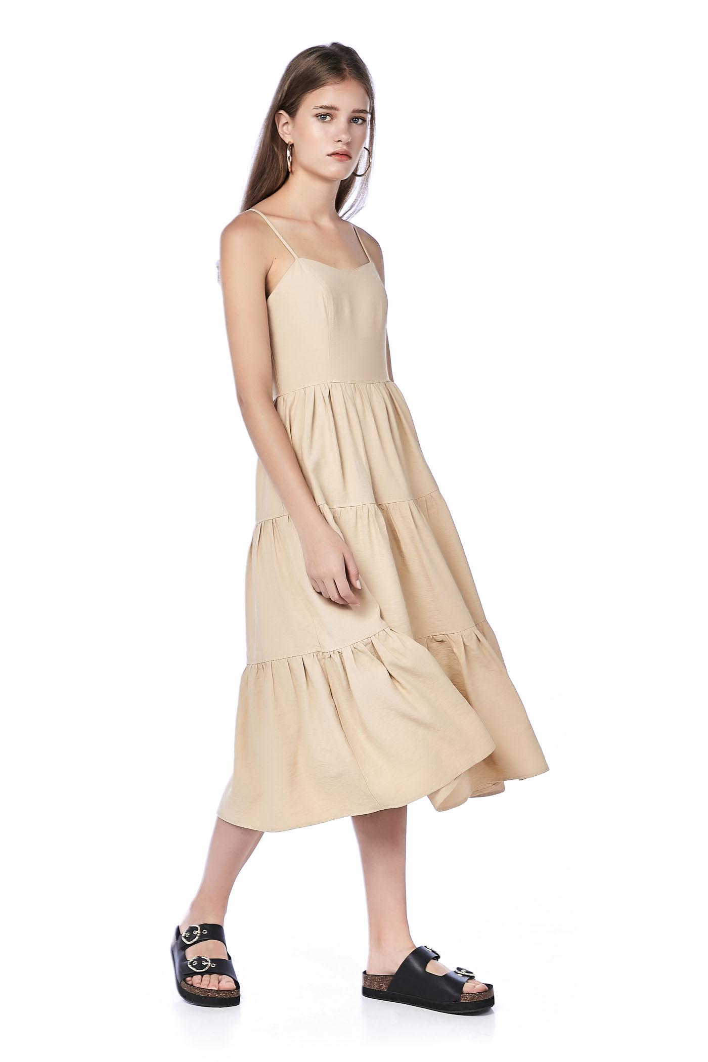 9430e369a1 Oriena Tiered Midi Dress