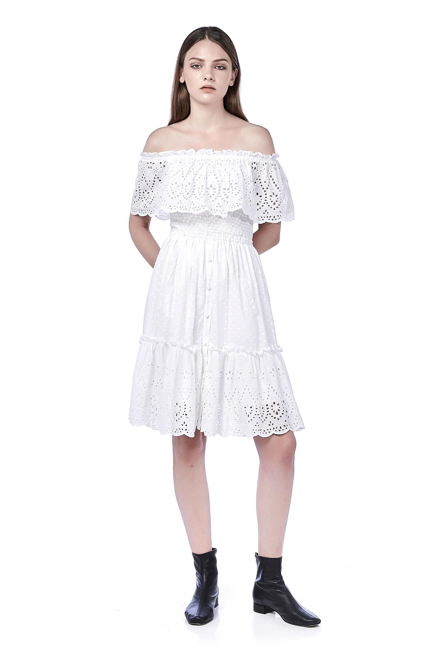 3aaa01cb738 Erith Off-Shoulder Eyelet Midi Dress