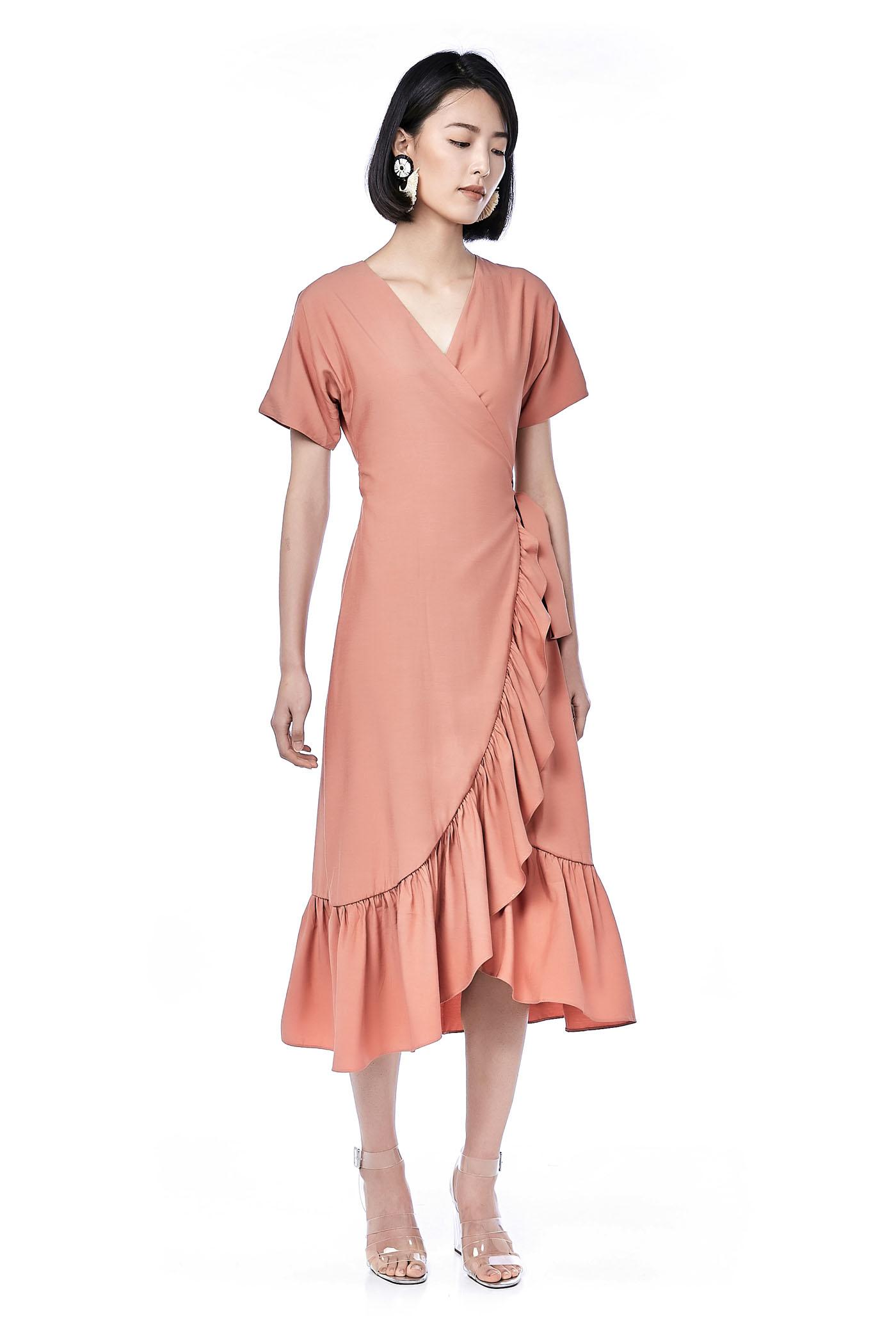 60122d19654 Creen Ruffle Wrap Dress