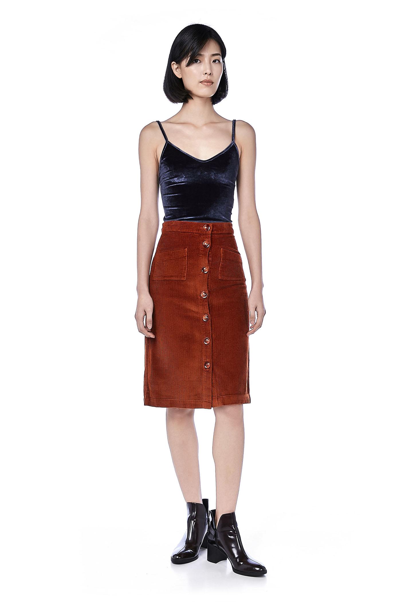 72e413459 Norah Corduroy Midi Skirt | The Editor's Market