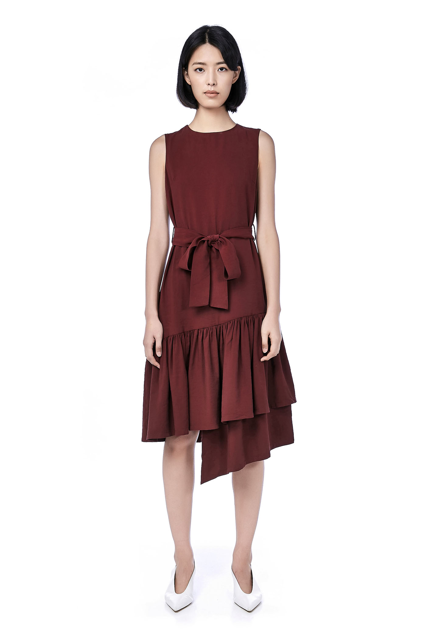 Mary Asymmetric Hem Midi Dress The Editors Market Skirt Maroon M Back