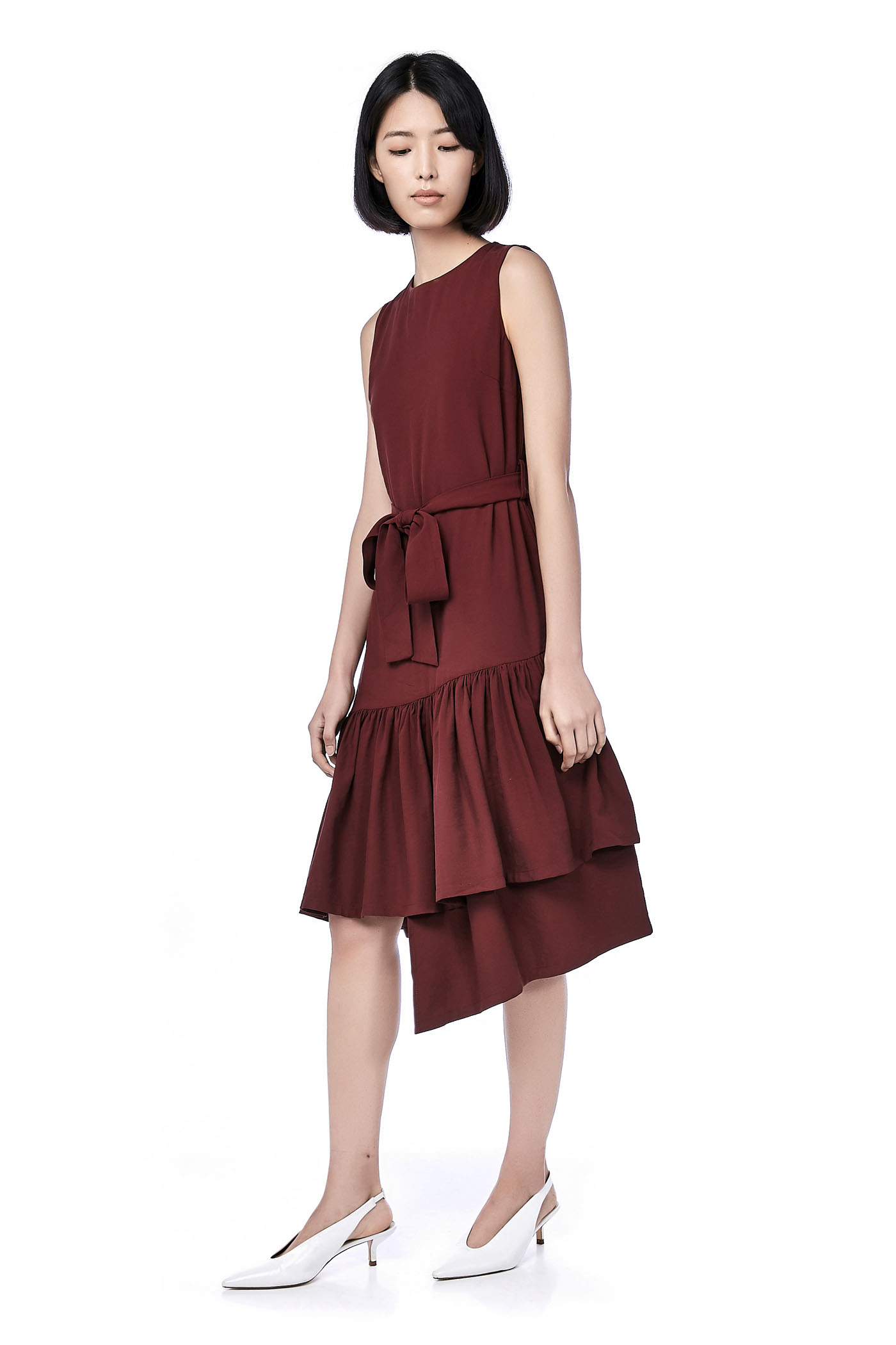 Mary Asymmetric Hem Midi Dress The Editors Market Skirt Maroon M