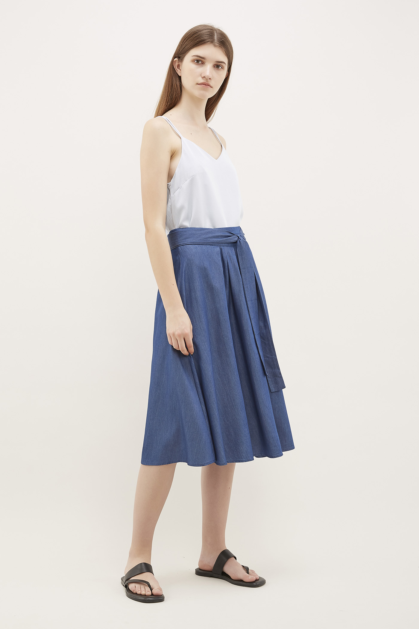 Yalena Pleated Midi Skirt
