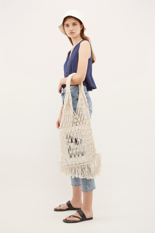 Bayo Macrame Top-Handle Bag