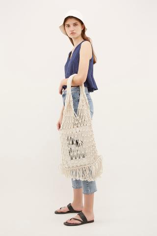 Bayo Macrame Top-Handle Bag