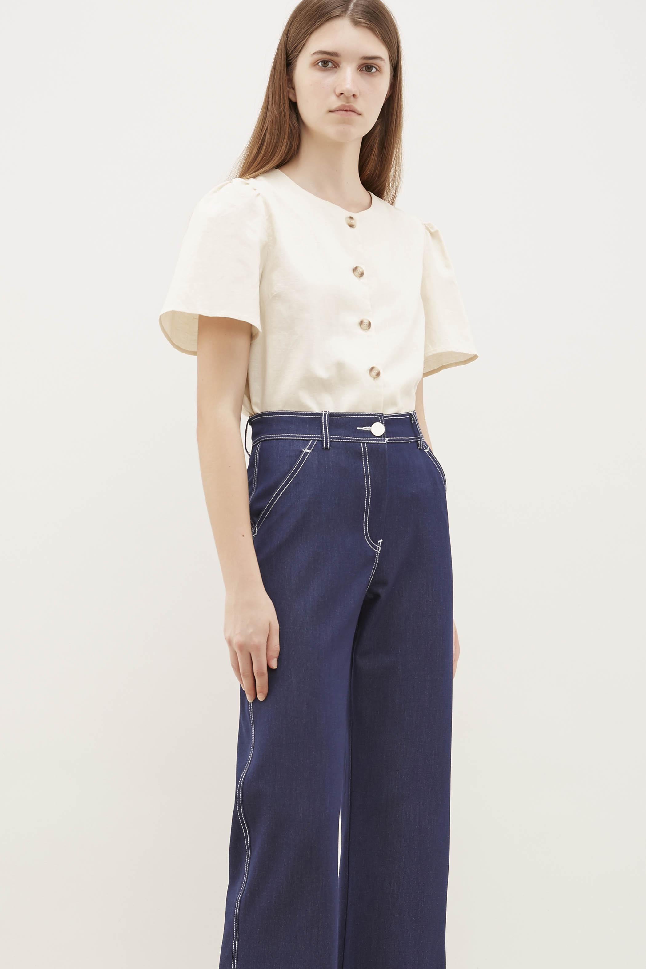 Frine Pouf-Sleeve Blouse