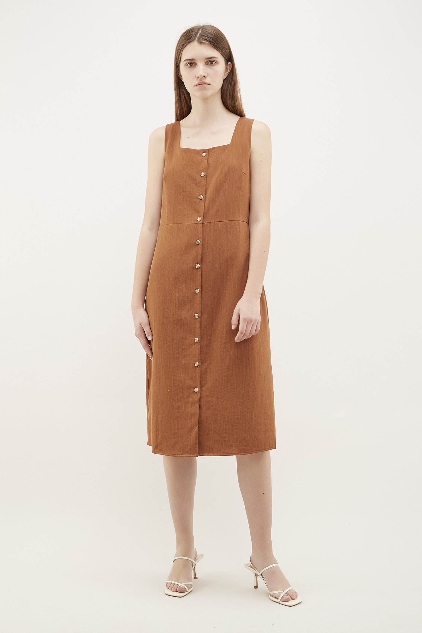 Chela Square-Neck Midi Dress