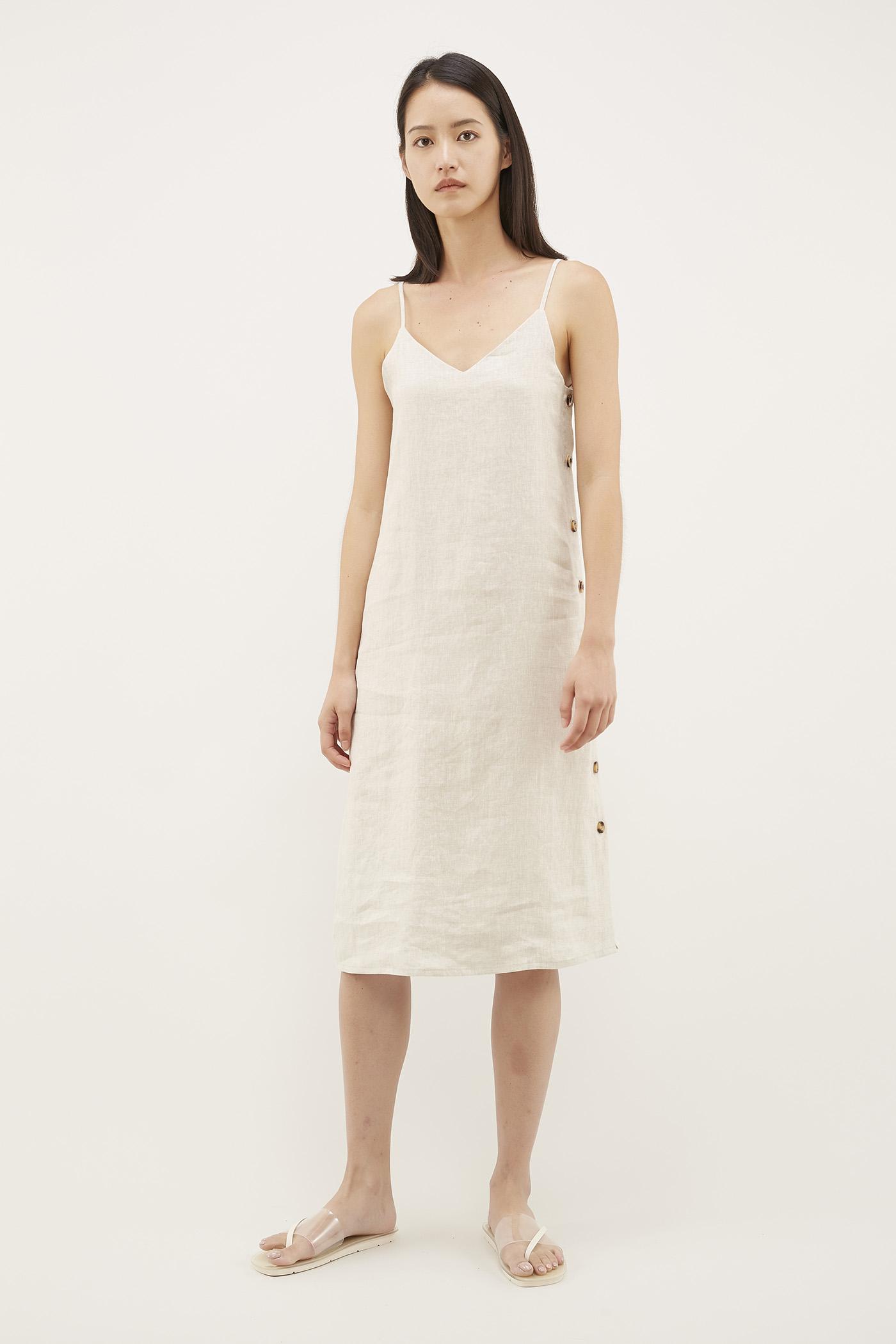 Narain Side-Button Slip Dress