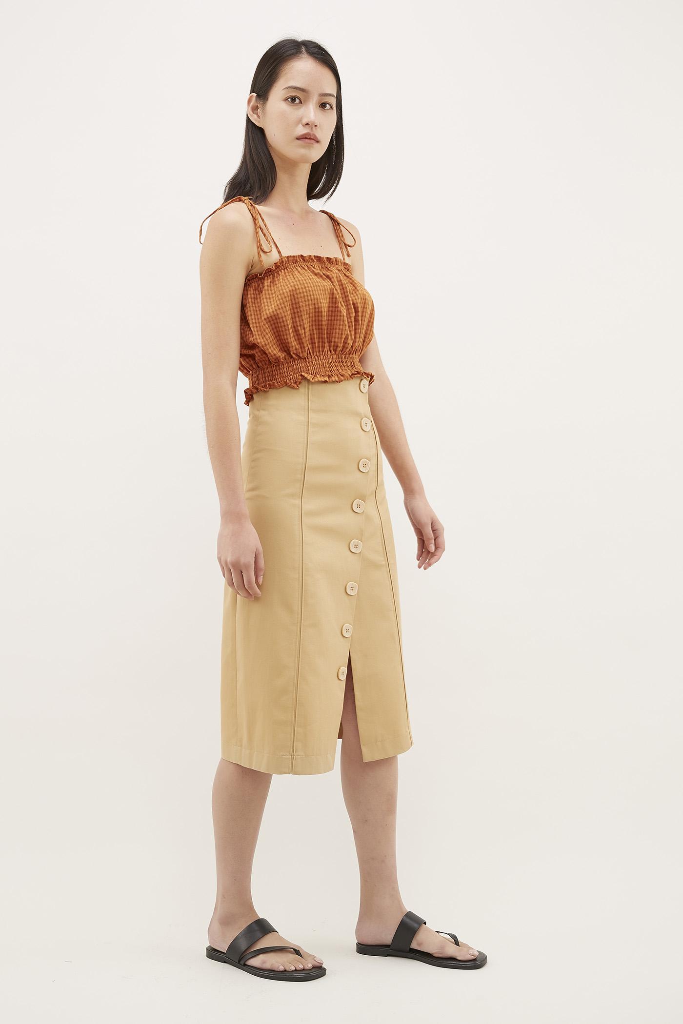 Hasen Asymmetrical Midi Skirt