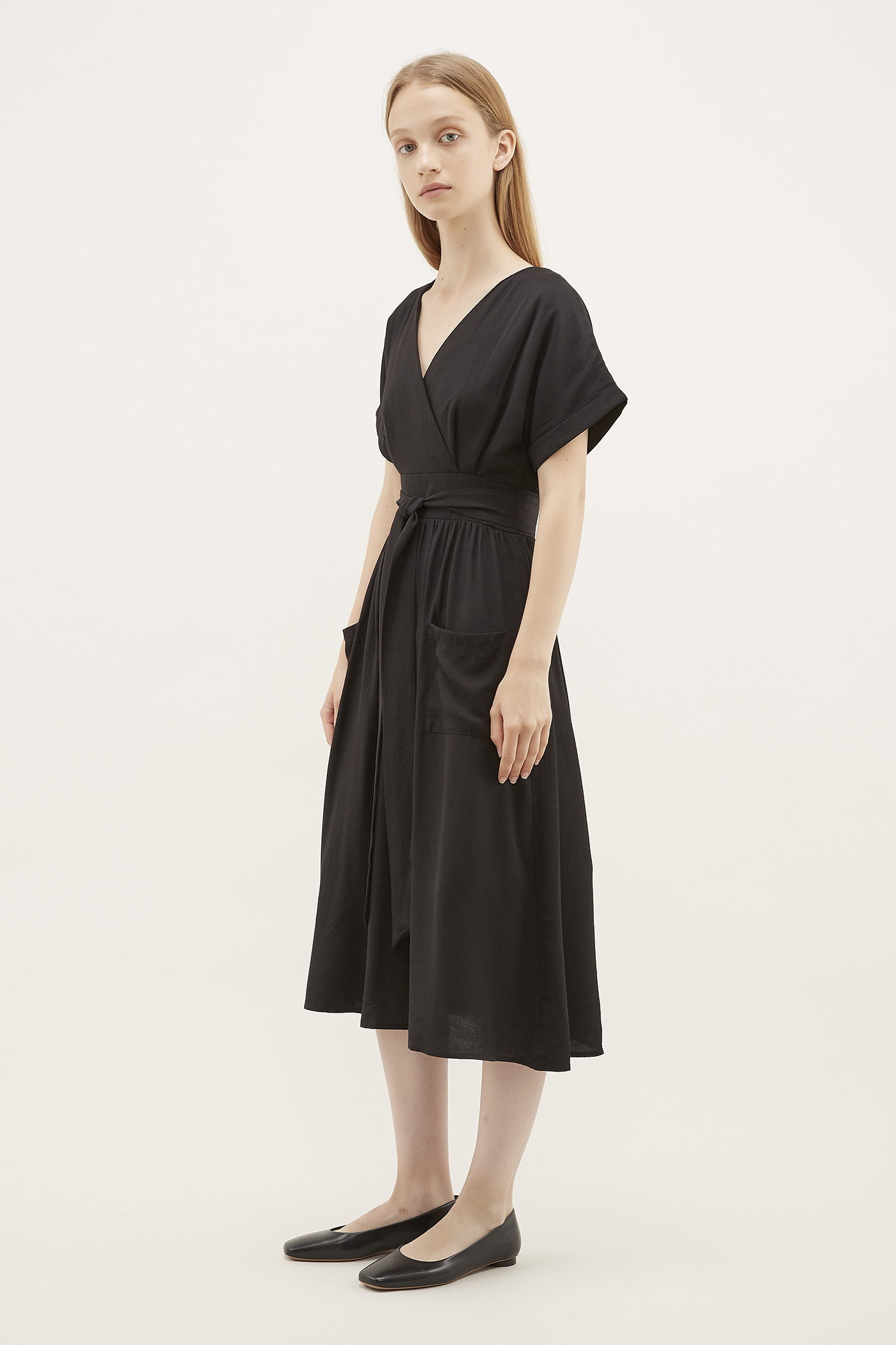Schyler Cross-Front Midi Dress