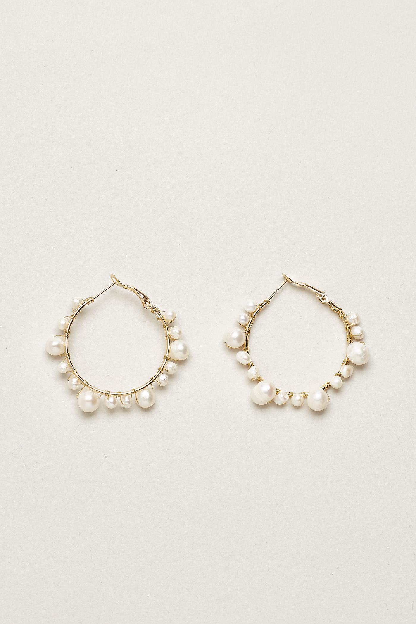 Trena Pearl Hoop Earrings