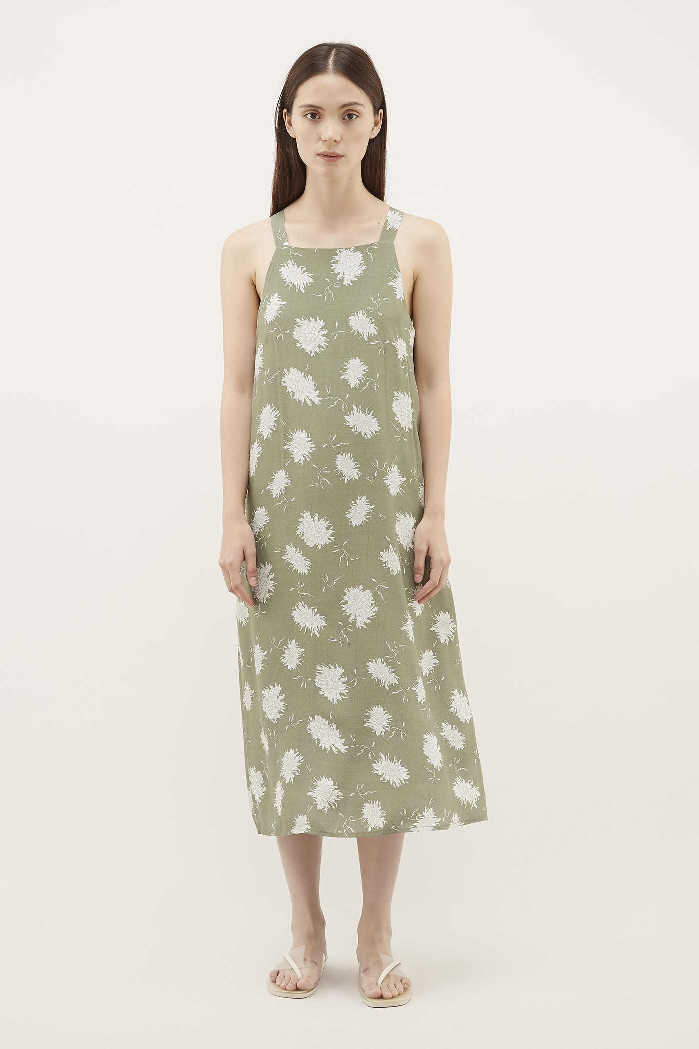 Pineri Square-Neck Dress