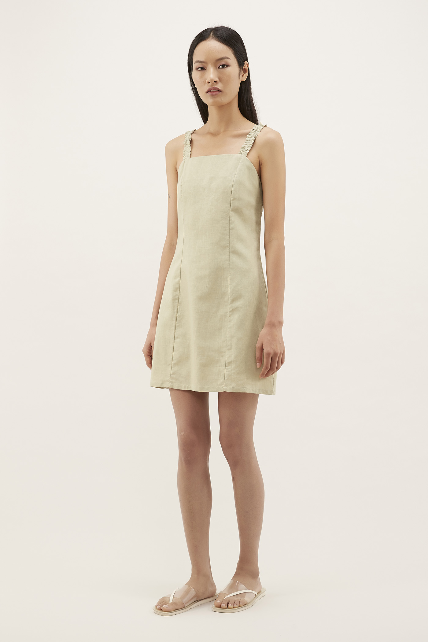 Almah Ruched-strap Mini Dress