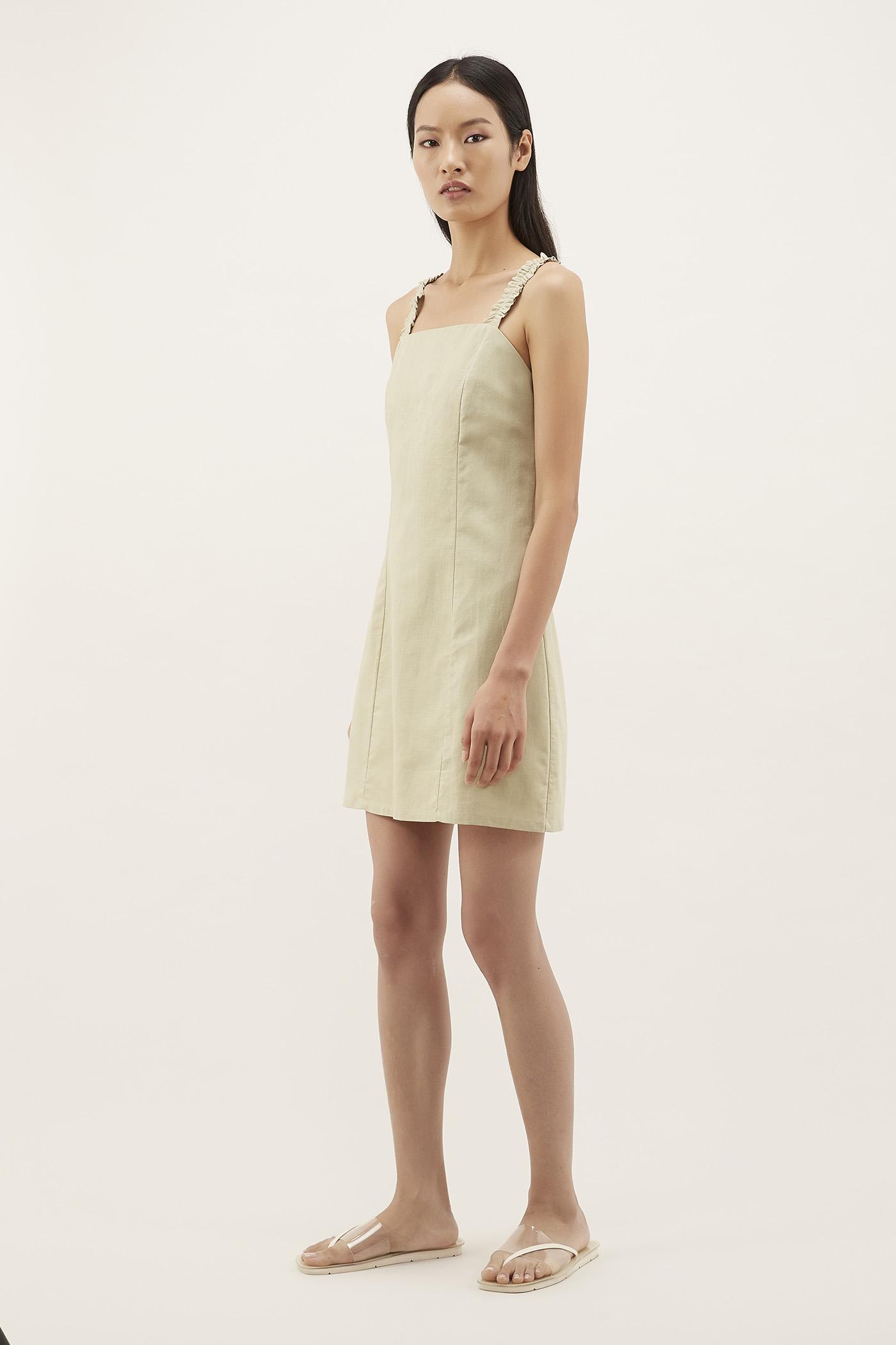 Almah Ruched-strap Mini Dress