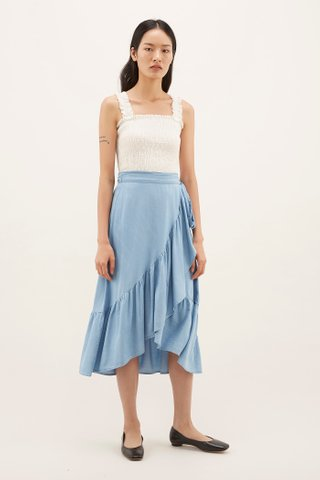 Sharina Frill-hem Wrap Skirt