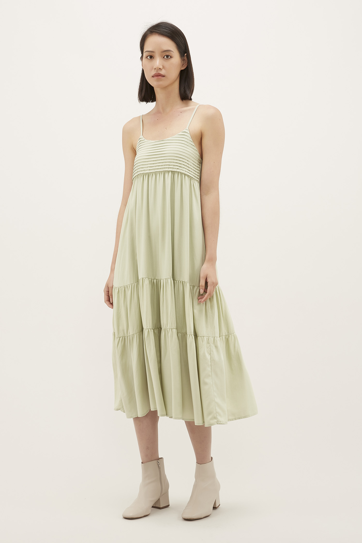 Yaneli Pleated Midi Dress