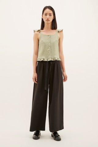 Ishie Frill-Trim Crop Top