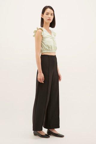 Edana Frill-sleeve Crop Top