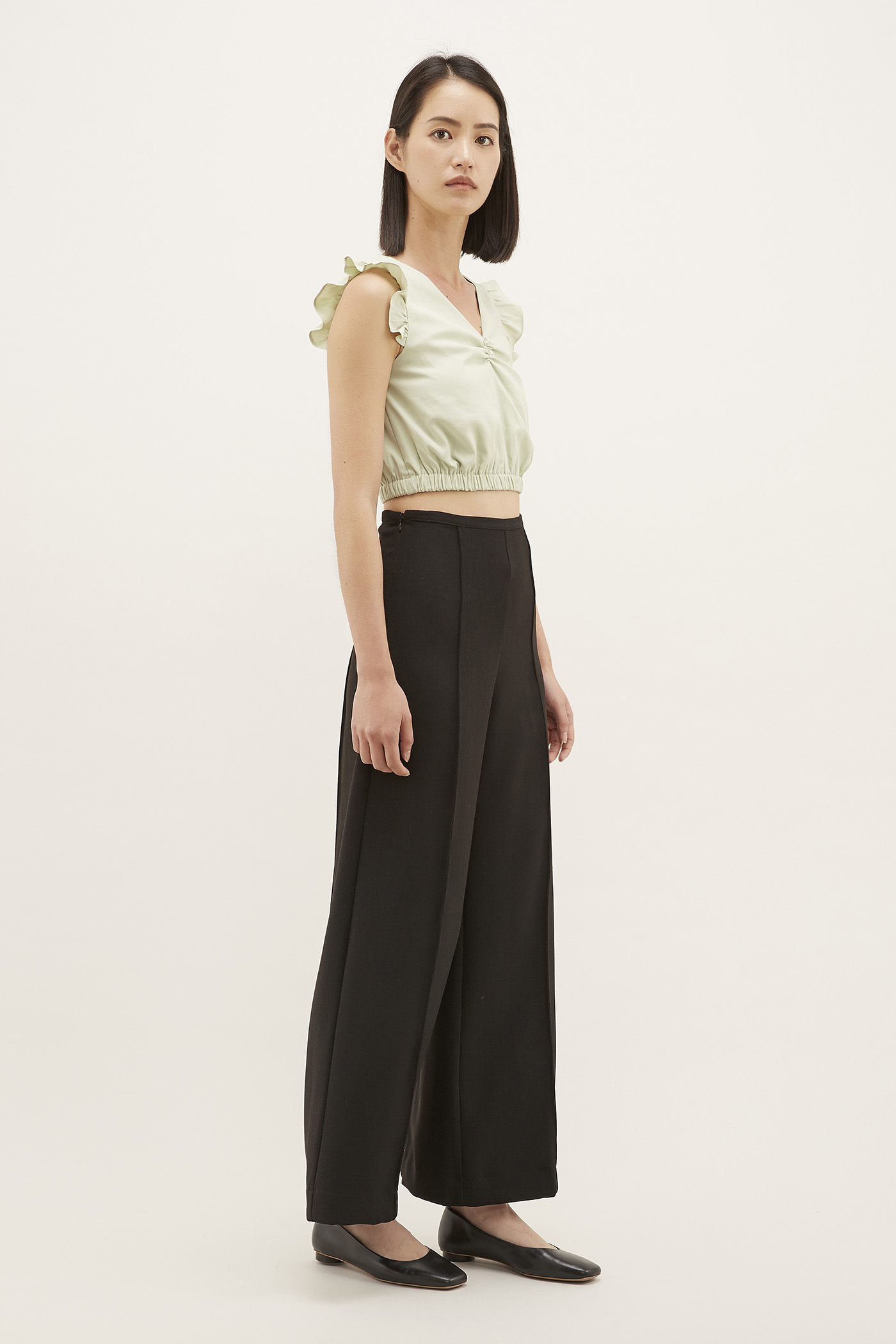 Edana Frill-sleeve Crop Top