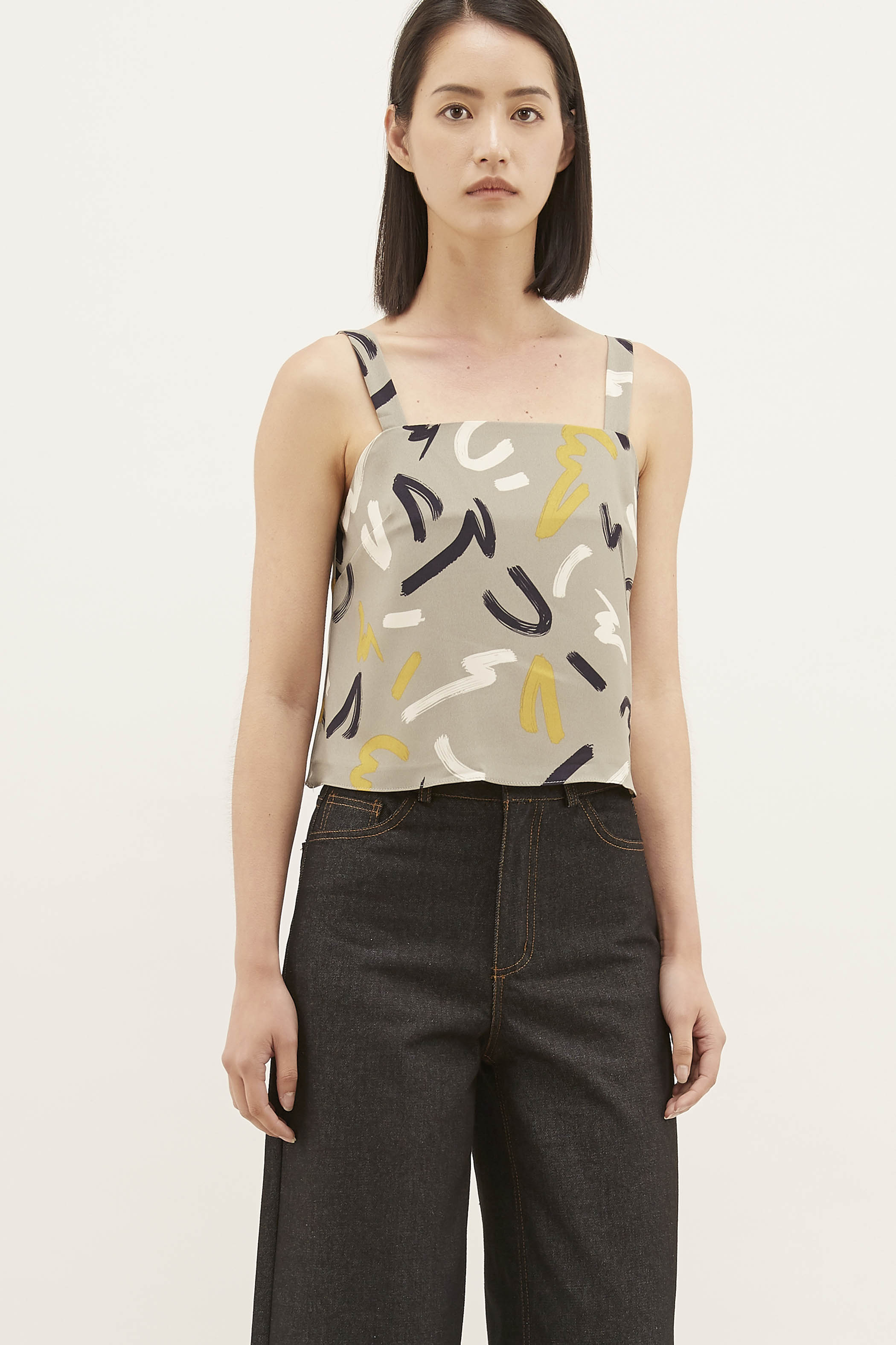 Dyen Square-Neck Crop Top