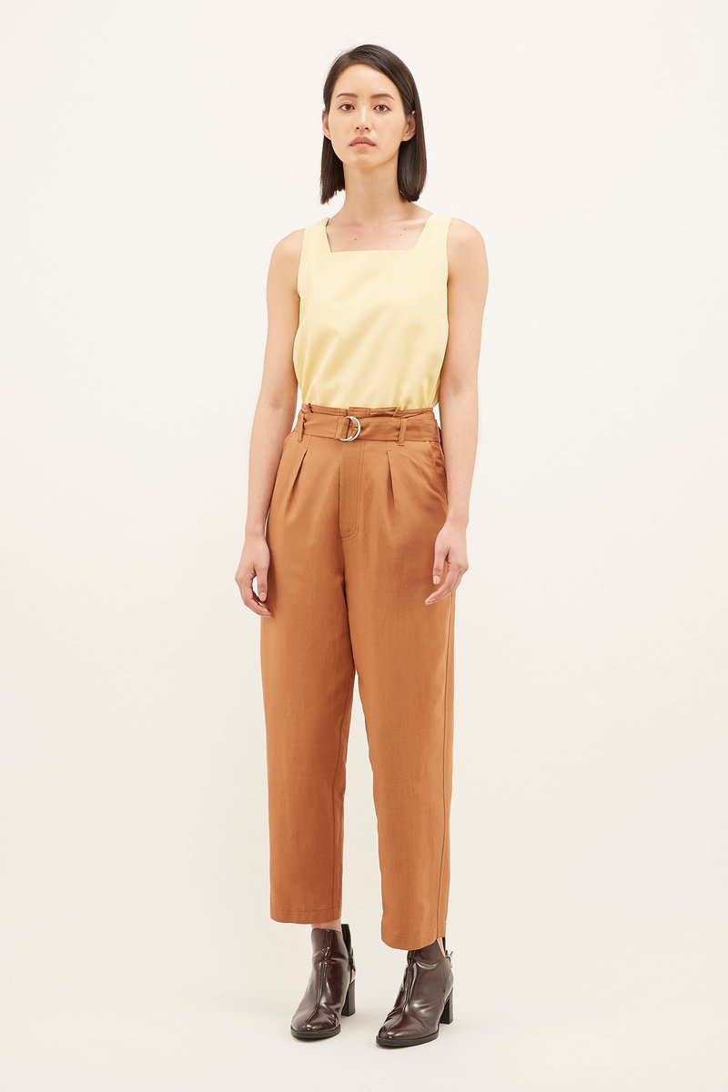 Women Ladies Check Belted Tapered High Waisted Slim Skinny Trousers Bottoms Pant