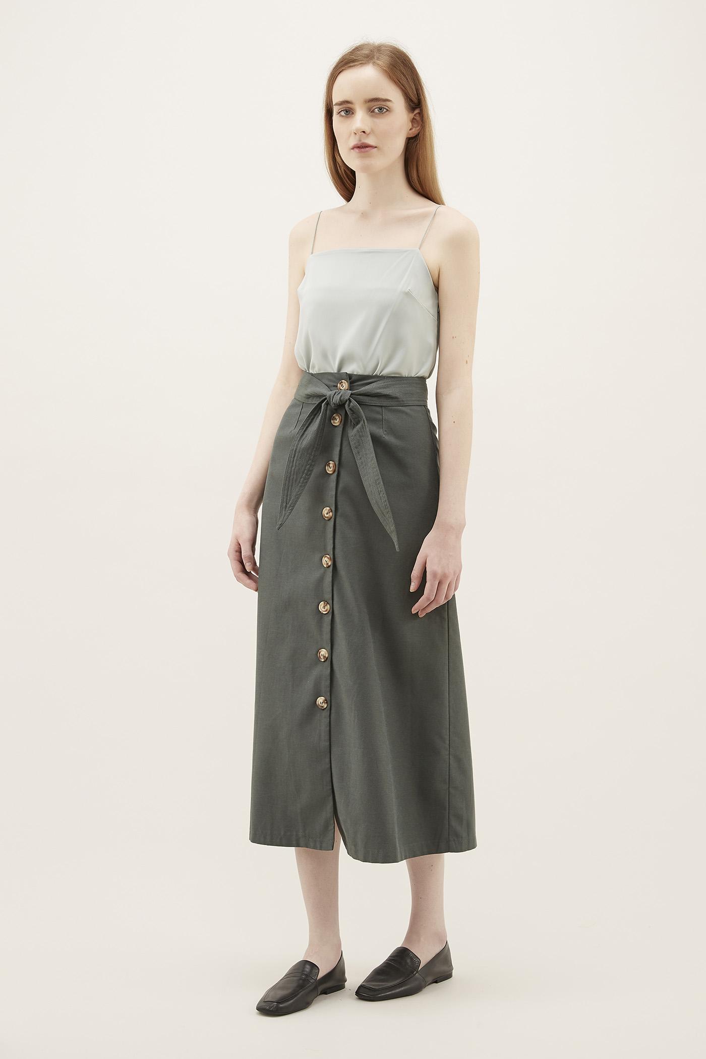Cheyanne Belted Midi Skirt