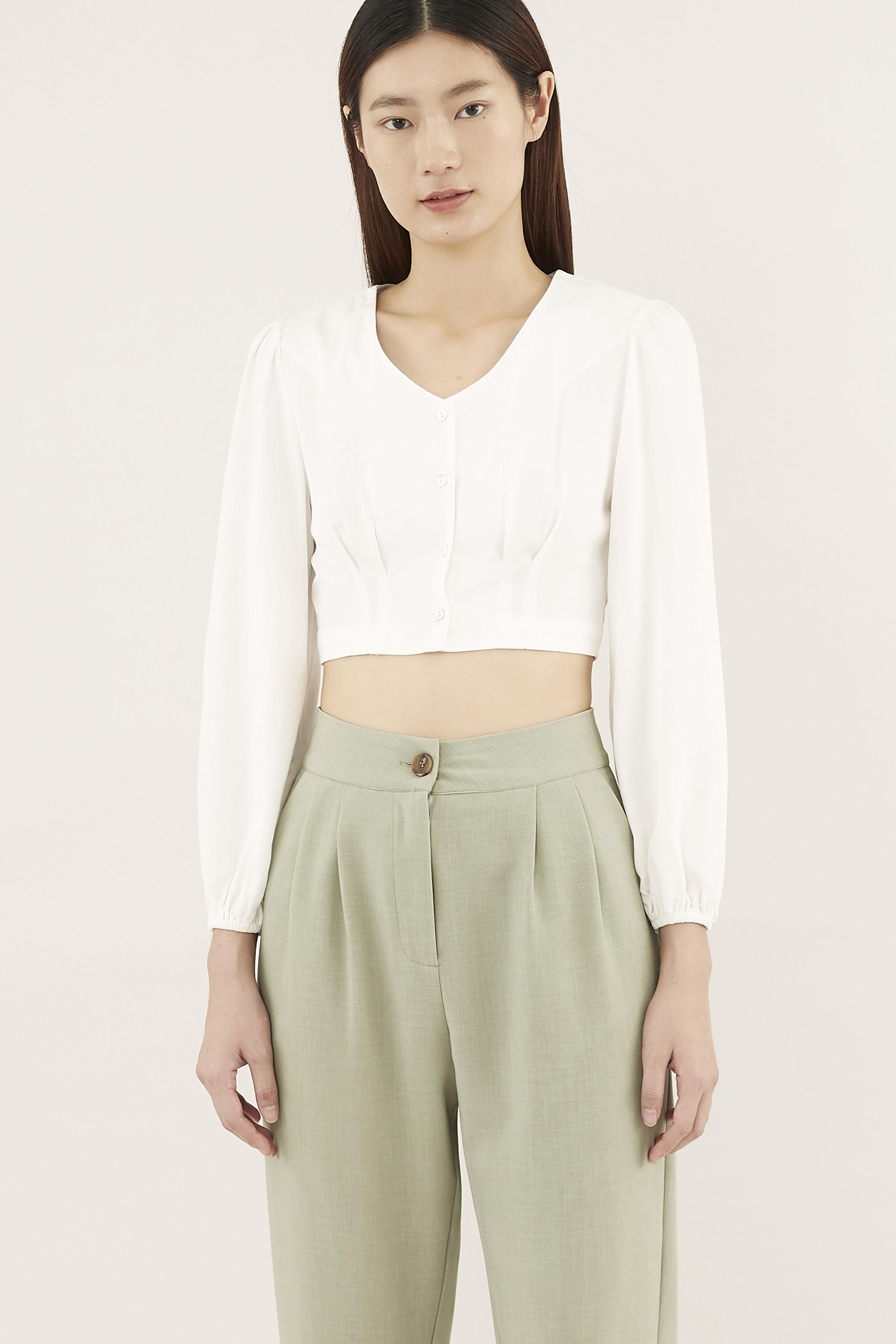 Leonna Puff-sleeve Crop Top