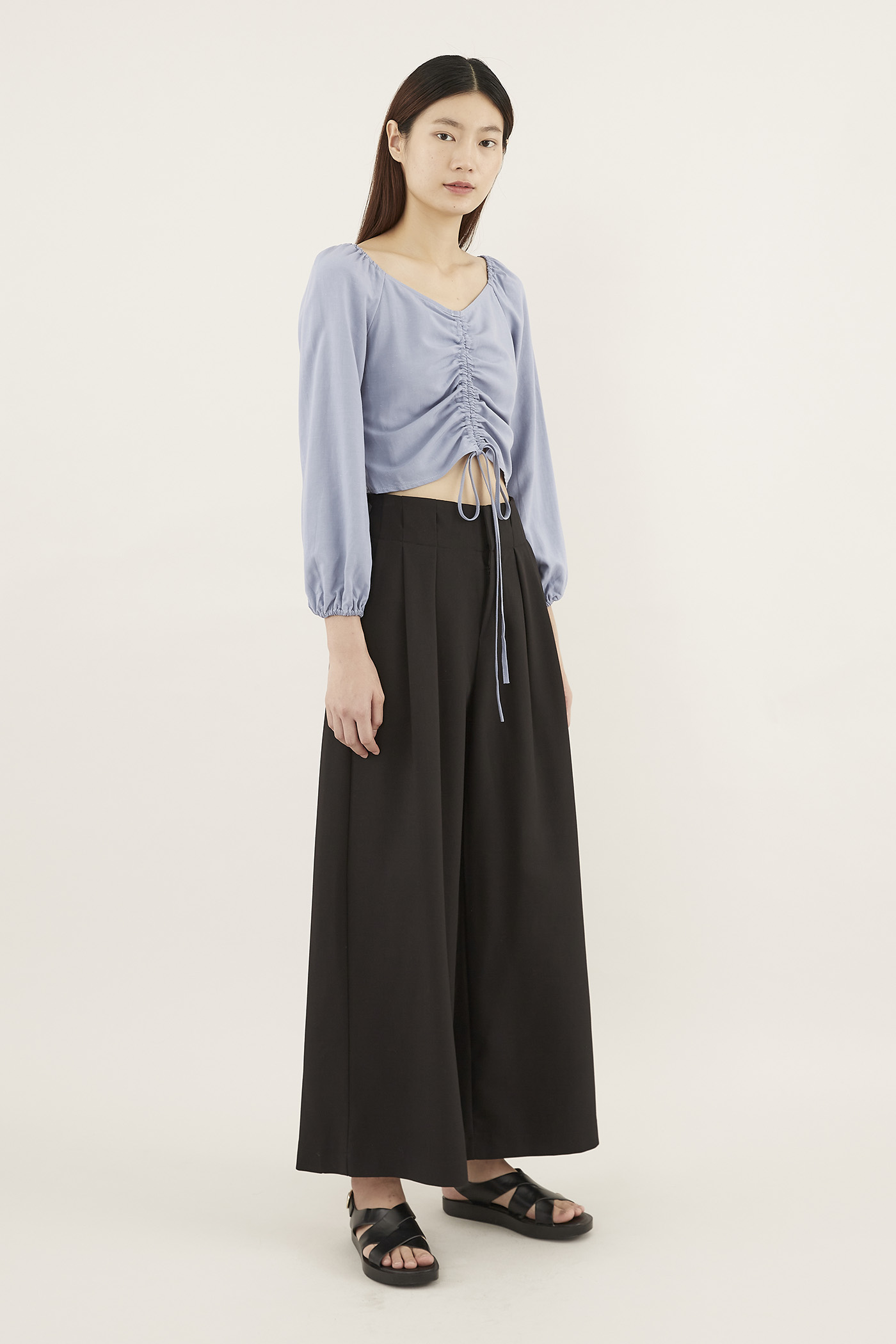 Cheyla Ruched-front Crop Top