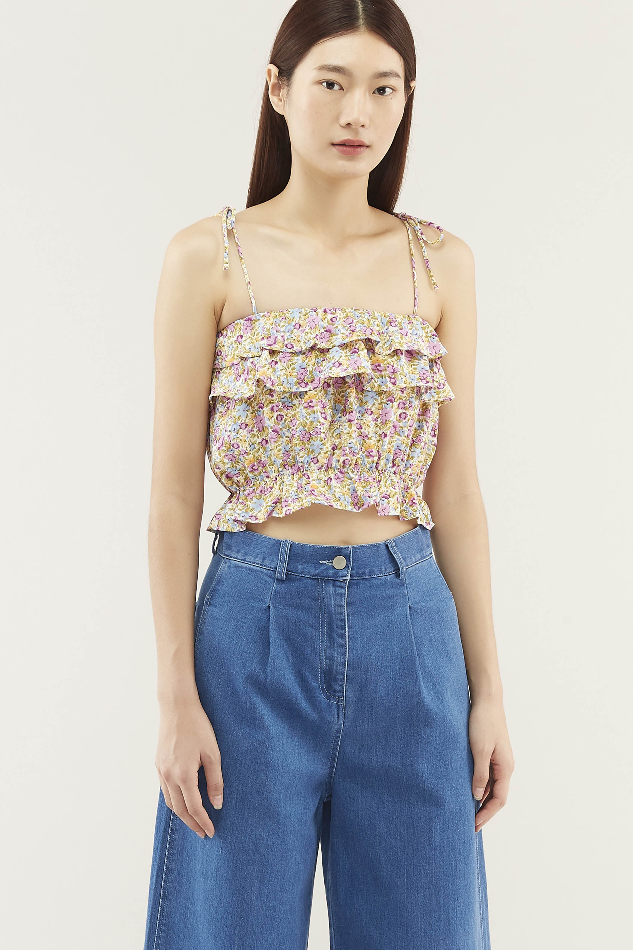 Noelle Ruffle Crop Top