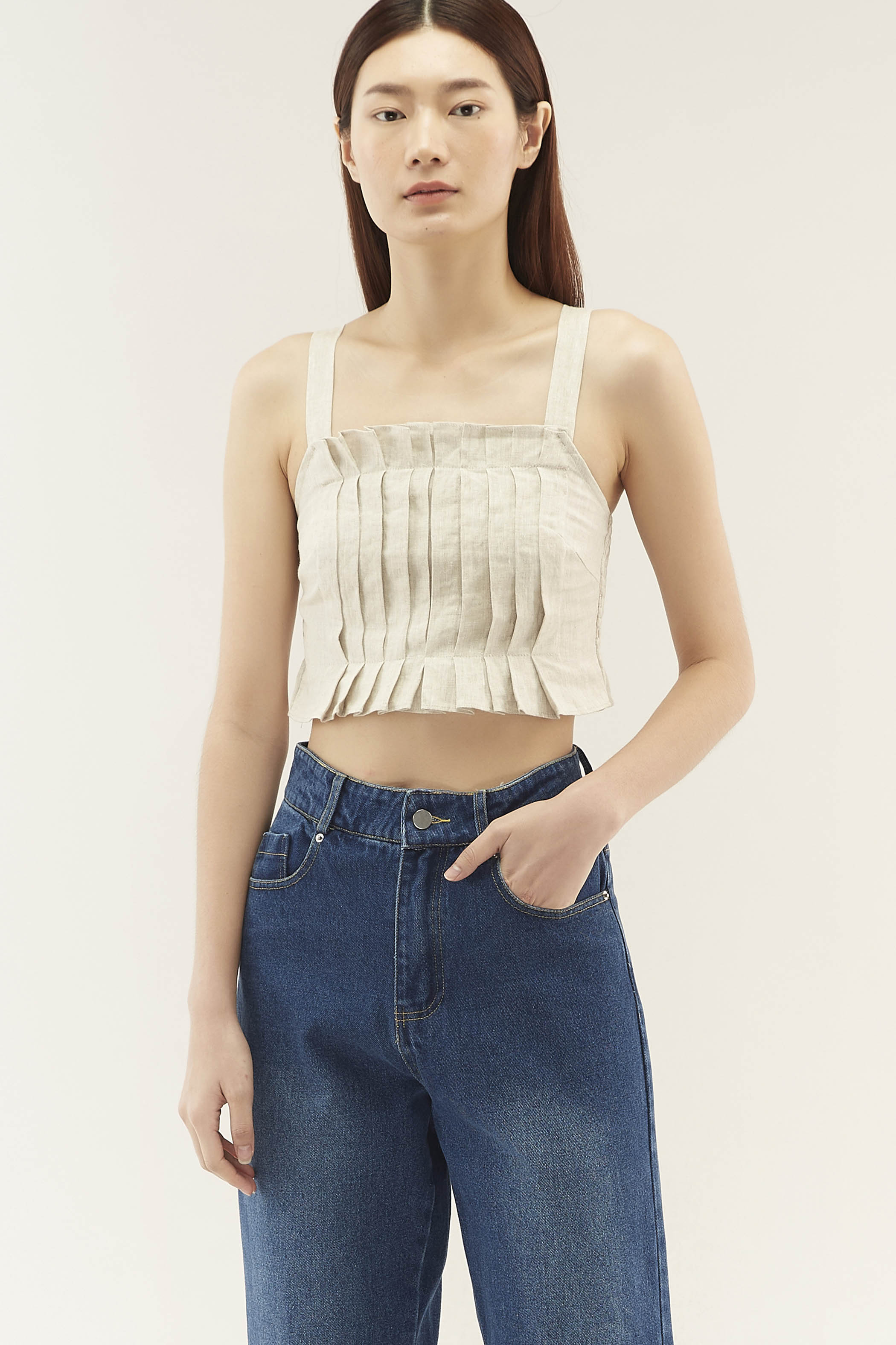 Kallie Pleat-front Top