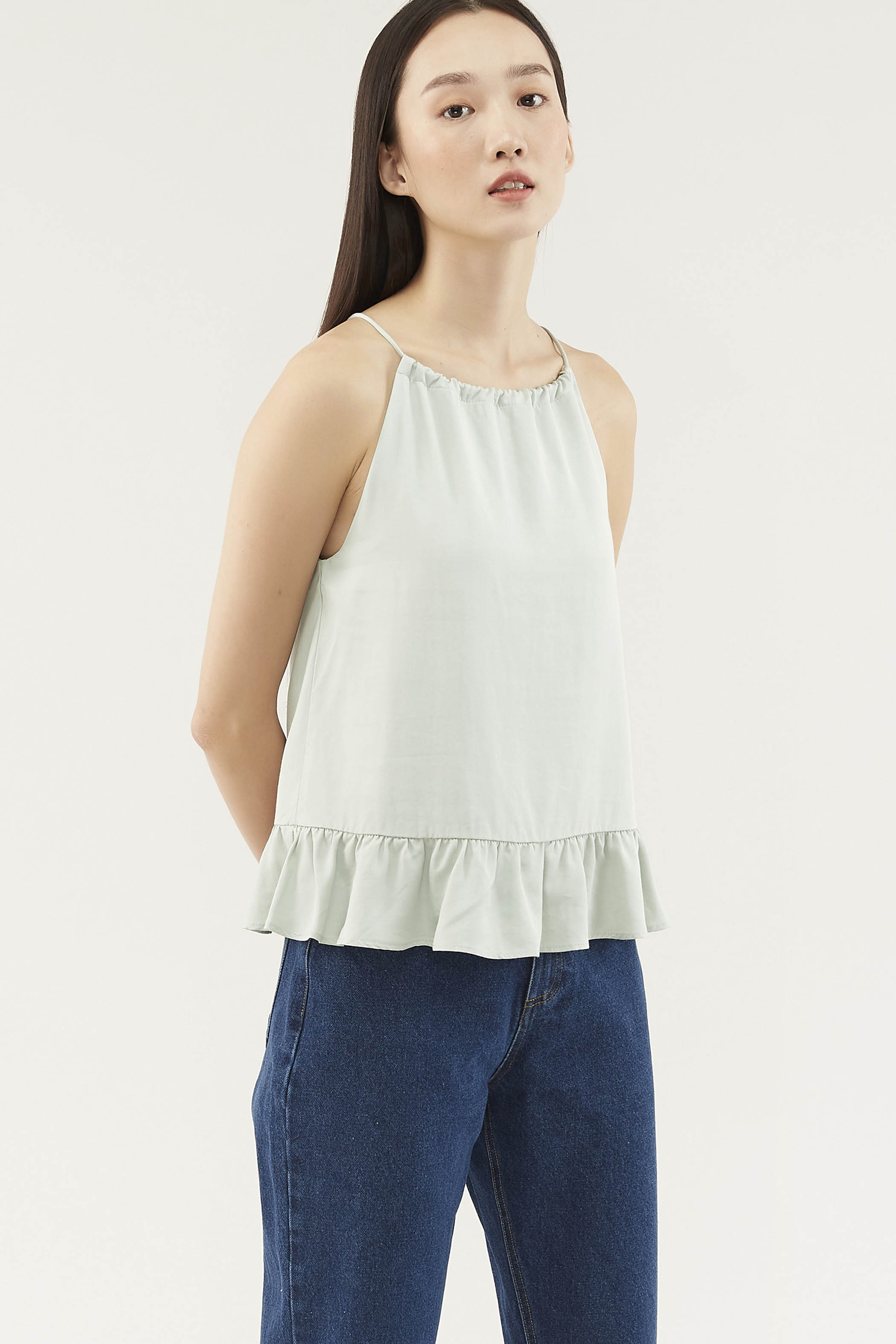 Hailen Gathered-neck Top