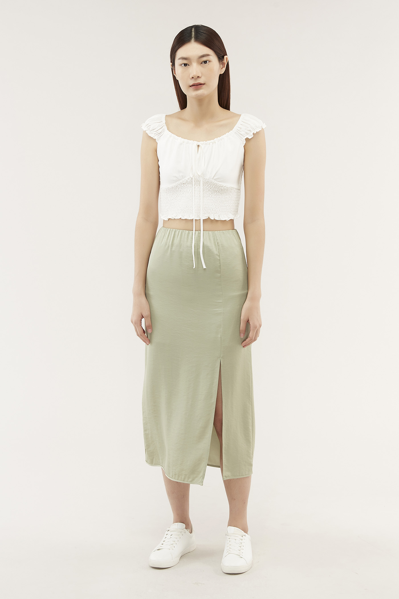 Elnora Satin Midi Skirt