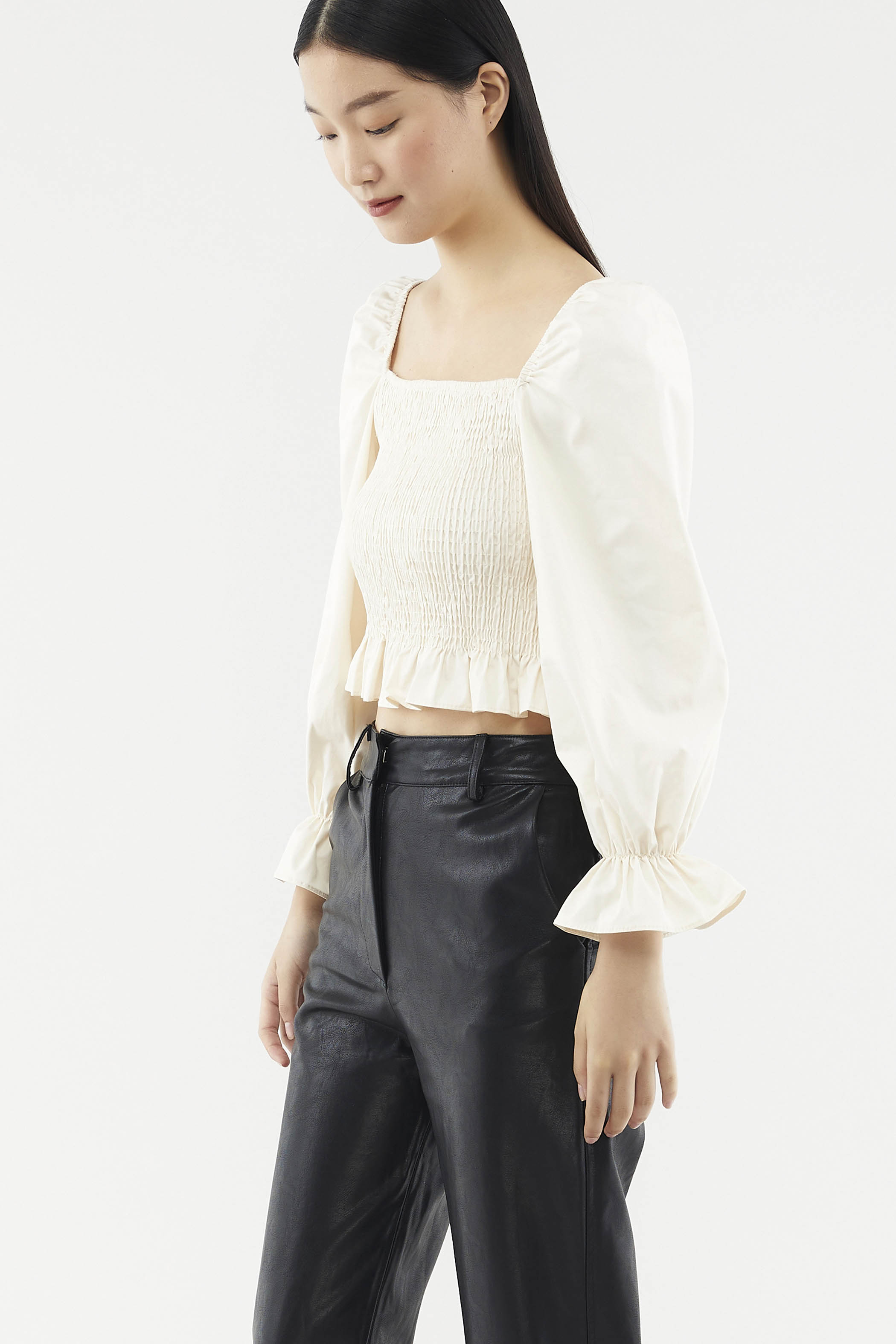 Darina Square-neck Shirred Top