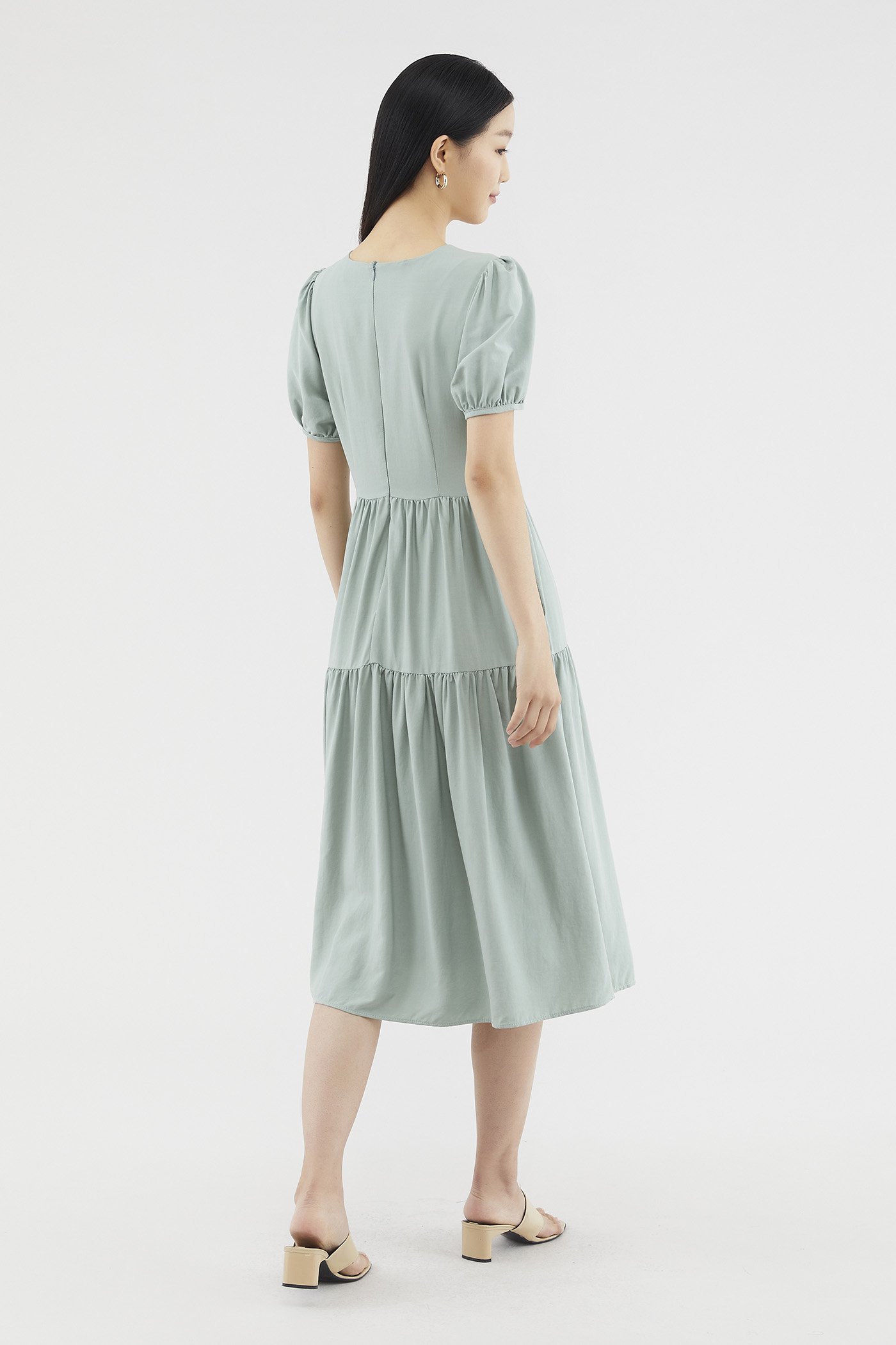 Kathleen Puff-sleeve Tiered Dress